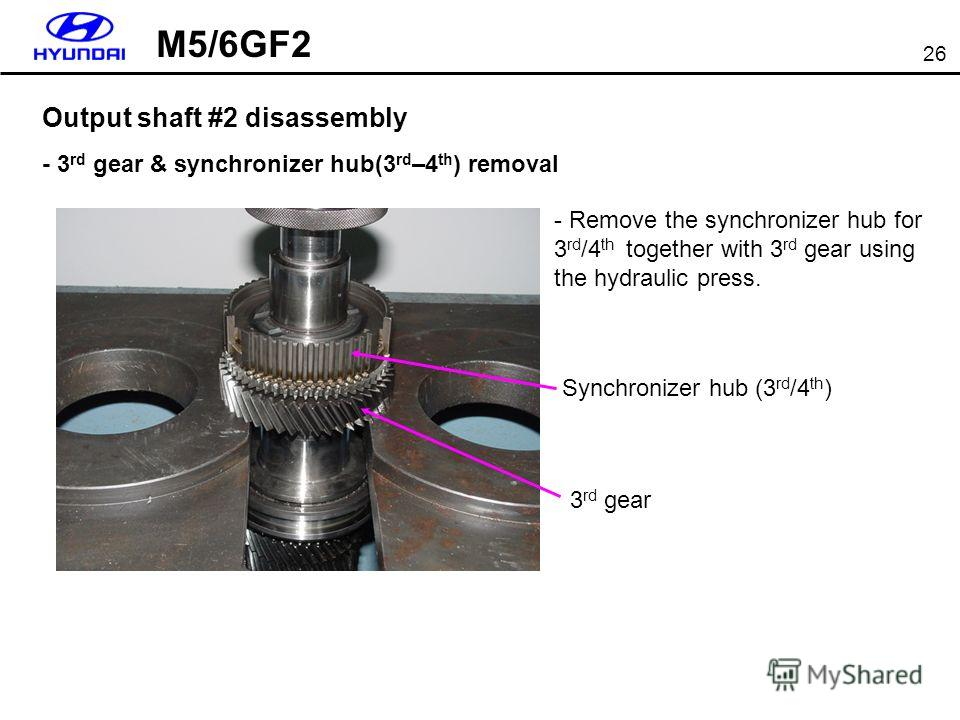 26 Output shaft #2 disassembly - 3 rd gear & synchronizer hub(3 rd –4 th ) removal - Remove the synchronizer hub for 3 rd /4 th together with 3 rd gear using the hydraulic press. 3 rd gear Synchronizer hub (3 rd /4 th ) M5/6GF2