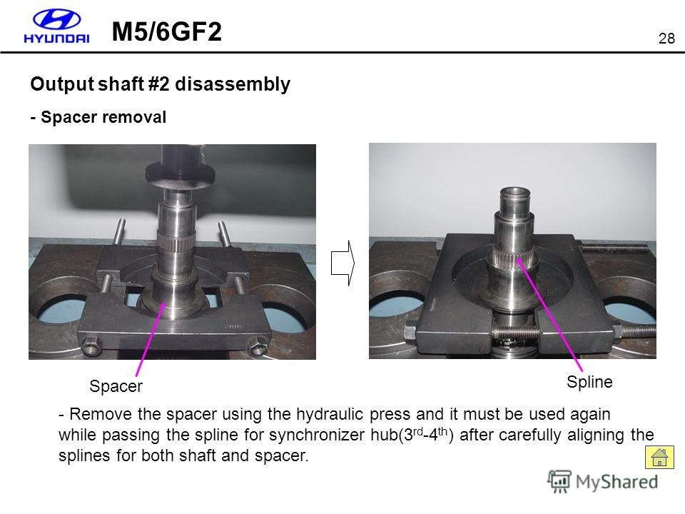 28 Output shaft #2 disassembly - Spacer removal Spacer - Remove the spacer using the hydraulic press and it must be used again while passing the spline for synchronizer hub(3 rd -4 th ) after carefully aligning the splines for both shaft and spacer.
