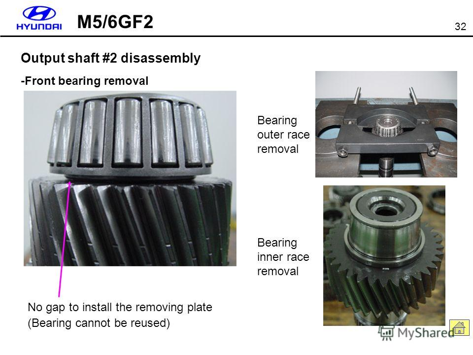 32 Output shaft #2 disassembly -Front bearing removal No gap to install the removing plate (Bearing cannot be reused) Bearing outer race removal Bearing inner race removal M5/6GF2