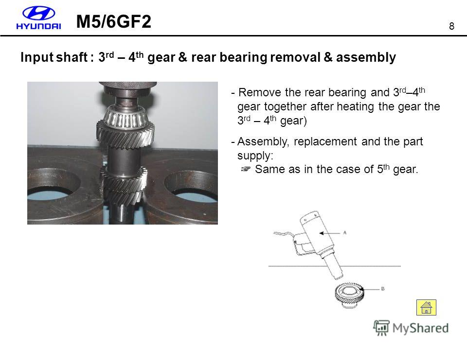 8 Input shaft : 3 rd – 4 th gear & rear bearing removal & assembly - Remove the rear bearing and 3 rd –4 th gear together after heating the gear the 3 rd – 4 th gear) - Assembly, replacement and the part supply: Same as in the case of 5 th gear. M5/6