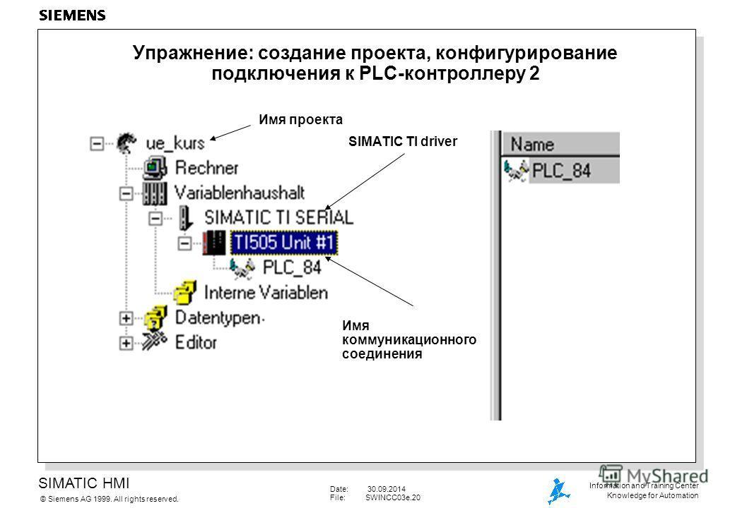 SIMATIC HMI Siemens AG 1999. All rights reserved.© Information and Training Center Knowledge for Automation Date: 30.09.2014 File:SWINCC03e.20 Упражнение: создание проекта, конфигурирование подключения к PLC-контроллеру 2 Имя проекта SIMATIC TI drive