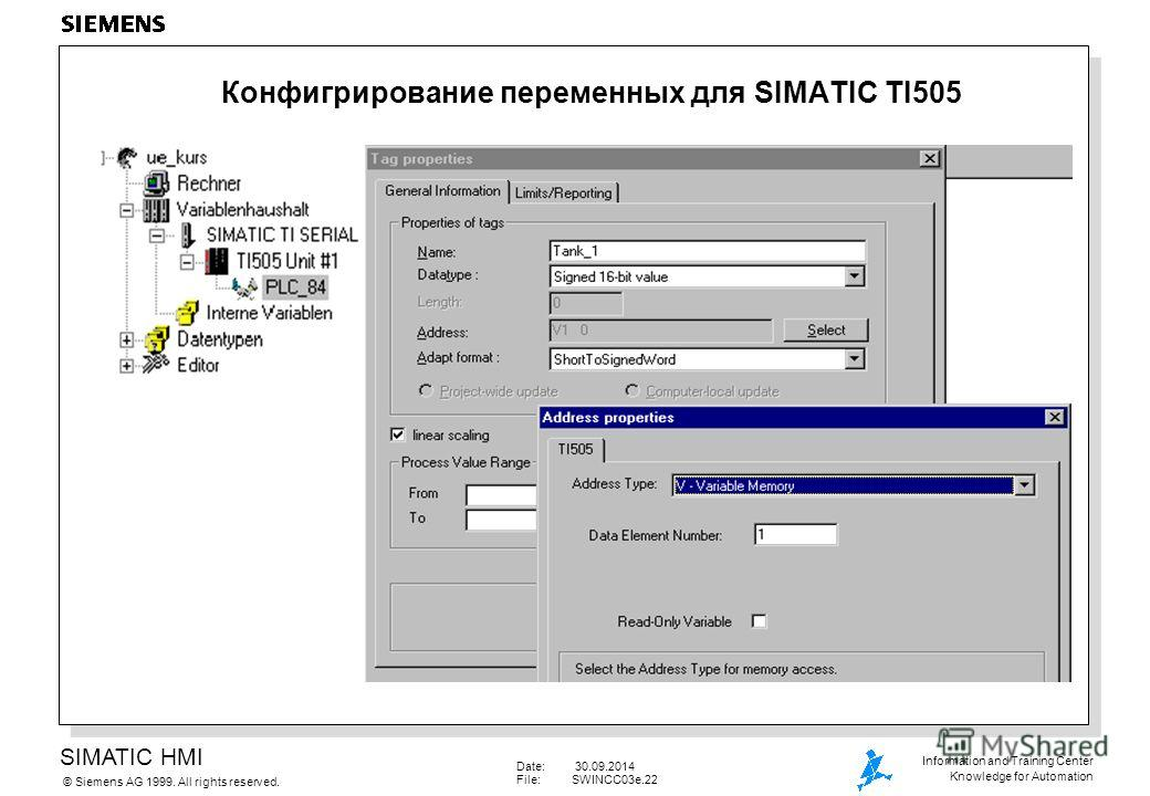 SIMATIC HMI Siemens AG 1999. All rights reserved.© Information and Training Center Knowledge for Automation Date: 30.09.2014 File:SWINCC03e.22 Конфигрирование переменных для SIMATIC TI505