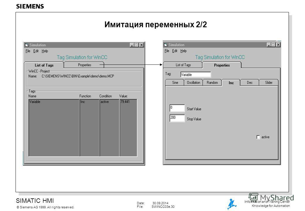 SIMATIC HMI Siemens AG 1999. All rights reserved.© Information and Training Center Knowledge for Automation Date: 30.09.2014 File:SWINCC03e.30 Имитация переменных 2/2
