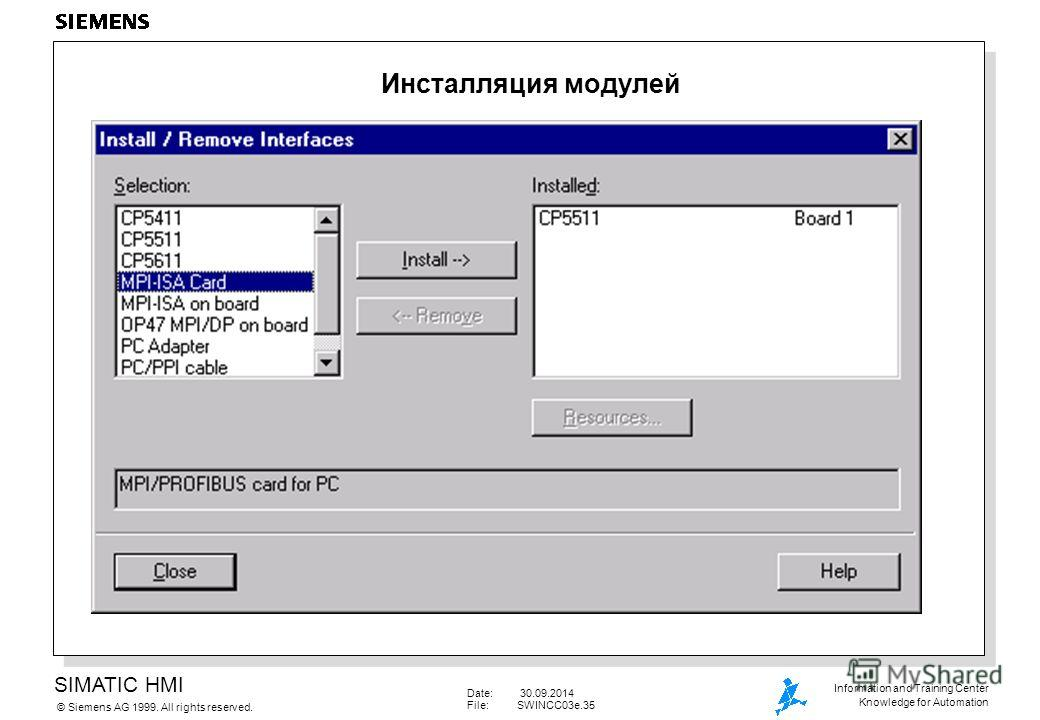 SIMATIC HMI Siemens AG 1999. All rights reserved.© Information and Training Center Knowledge for Automation Date: 30.09.2014 File:SWINCC03e.35 Инсталляция модулей