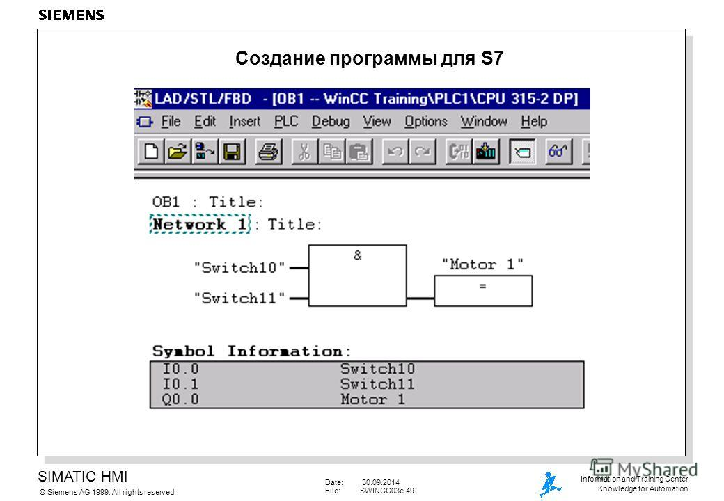 SIMATIC HMI Siemens AG 1999. All rights reserved.© Information and Training Center Knowledge for Automation Date: 30.09.2014 File:SWINCC03e.49 Создание программы для S7