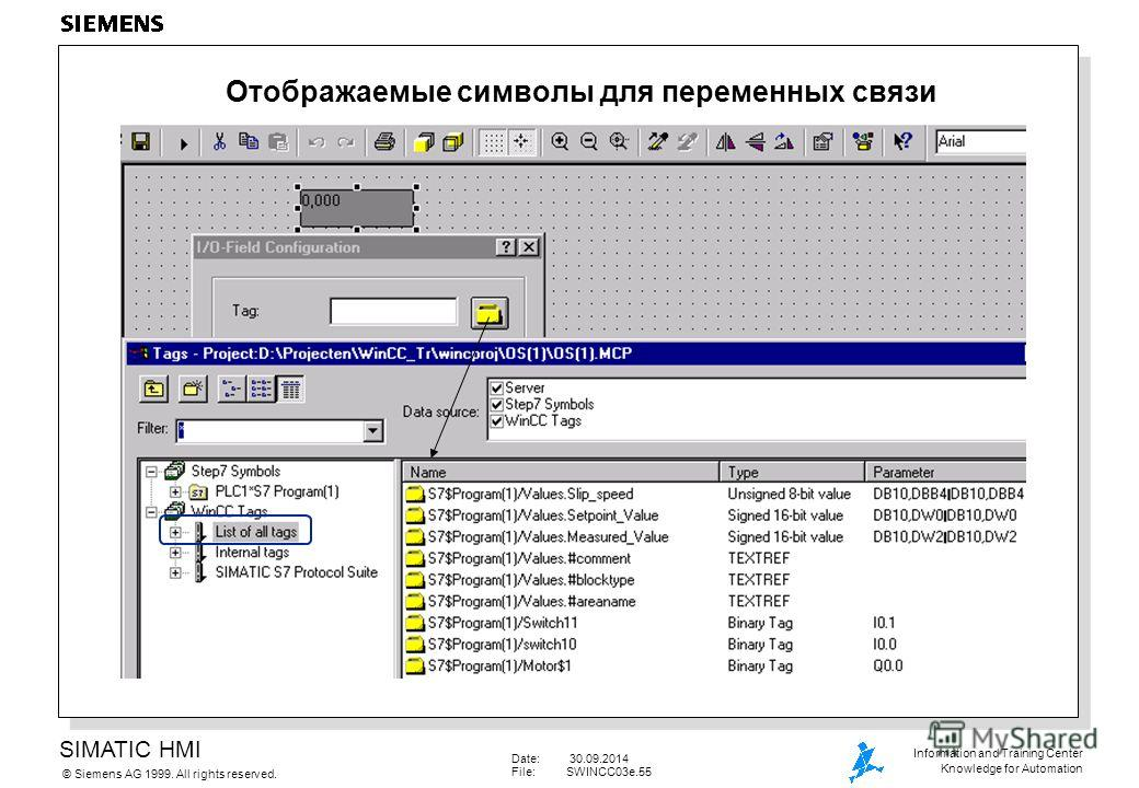 SIMATIC HMI Siemens AG 1999. All rights reserved.© Information and Training Center Knowledge for Automation Date: 30.09.2014 File:SWINCC03e.55 Отображаемые символы для переменных связи