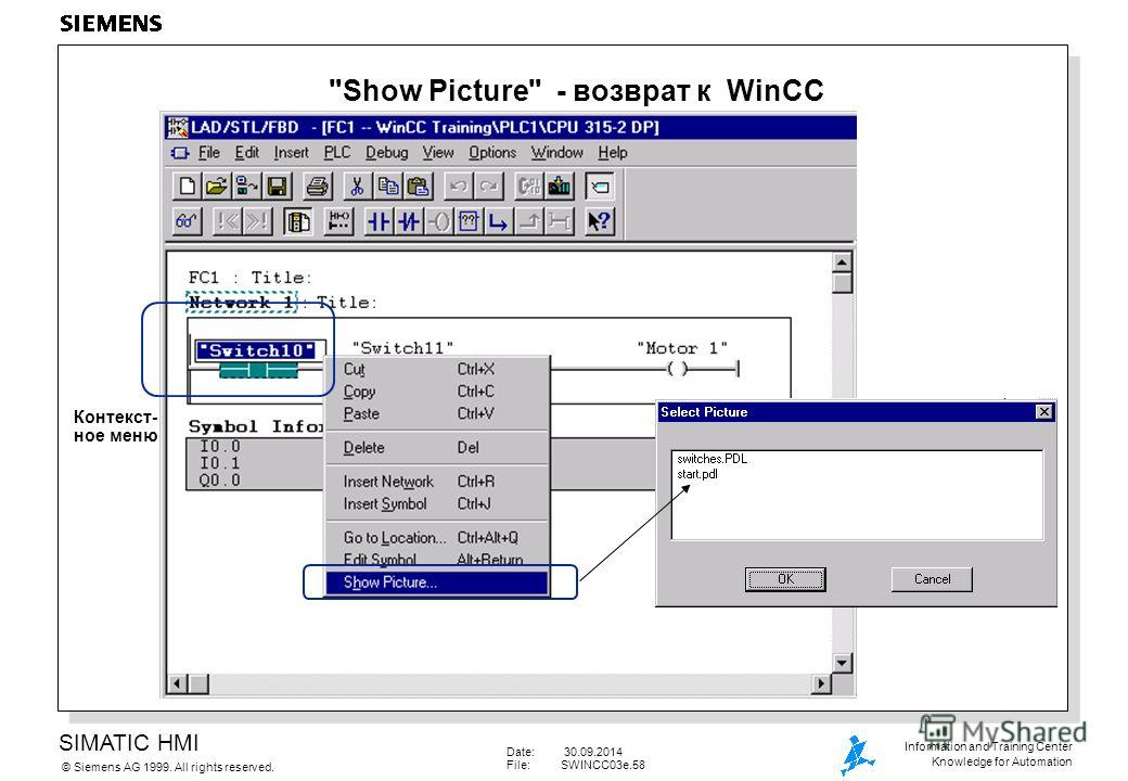 SIMATIC HMI Siemens AG 1999. All rights reserved.© Information and Training Center Knowledge for Automation Date: 30.09.2014 File:SWINCC03e.58 Show Picture - возврат к WinCC Контекст- ное меню