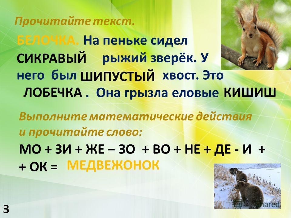 Прочитайте текст. 3 БЕЛОЧКА. На пеньке сидел рыжий зверёк. У него был хвост. Это. Она грызла еловые СИКРАВЫЙ КРАСИВЫЙ ШИПУСТЫЙ ПУШИСТЫЙ ЛОБЕЧКА БЕЛОЧКА КИШИШ ШИШКИ Выполните математыческие действия и прочитайте слово : МО + ЗИ + ЖЕ – ЗО + ВО + НЕ + Д