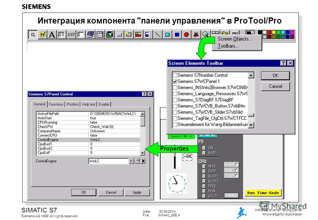 Date: 30.09.2014 File:WINAC_06E.4 SIMATIC S7 Siemens AG 1999. All rights reserved. Information and Training Center Knowledge for Automation Интеграция компонента панели управления в ProTool/Pro Properties