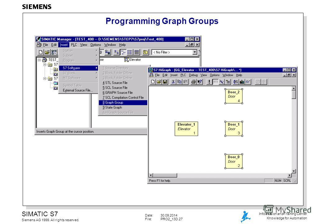 Date:30.09.2014 File:PRO2_13D.27 SIMATIC S7 Siemens AG 1999. All rights reserved. Information and Training Center Knowledge for Automation Programming Graph Groups