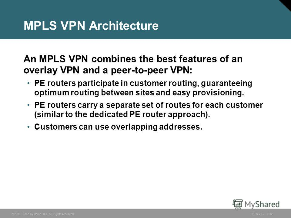 © 2006 Cisco Systems, Inc. All rights reserved.ISCW v1.03-12 MPLS VPN Architecture An MPLS VPN combines the best features of an overlay VPN and a peer-to-peer VPN: PE routers participate in customer routing, guaranteeing optimum routing between sites