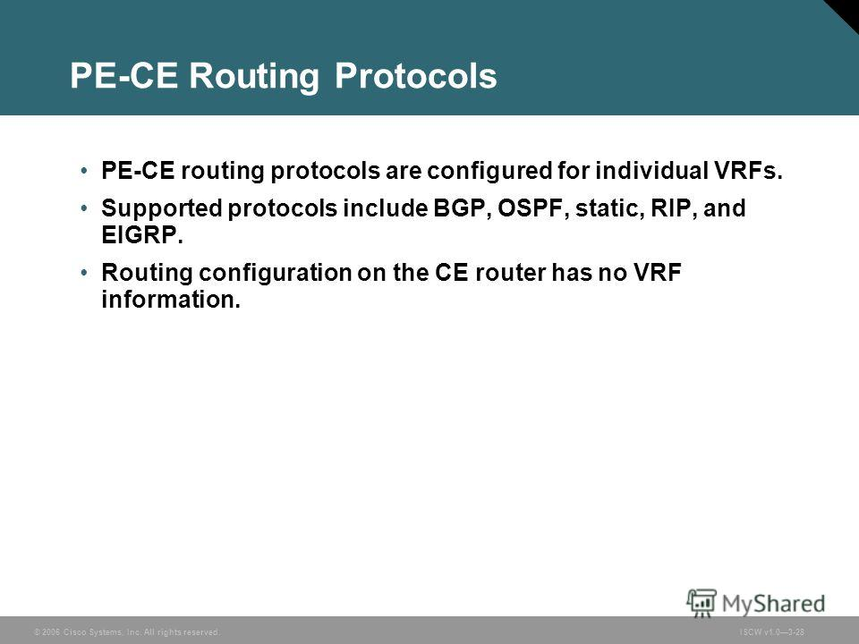 © 2006 Cisco Systems, Inc. All rights reserved.ISCW v1.03-28 PE-CE Routing Protocols PE-CE routing protocols are configured for individual VRFs. Supported protocols include BGP, OSPF, static, RIP, and EIGRP. Routing configuration on the CE router has