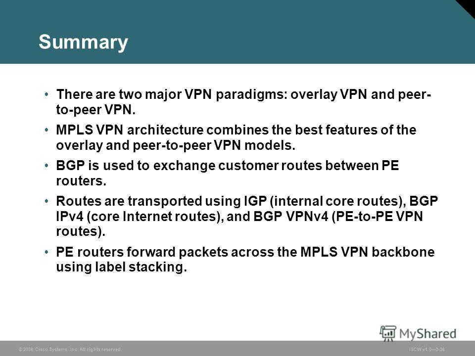© 2006 Cisco Systems, Inc. All rights reserved.ISCW v1.03-36 Summary There are two major VPN paradigms: overlay VPN and peer- to-peer VPN. MPLS VPN architecture combines the best features of the overlay and peer-to-peer VPN models. BGP is used to exc