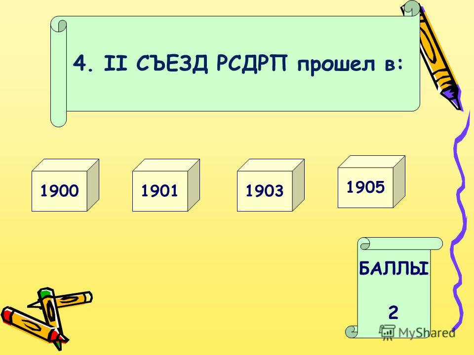 4. II СЪЕЗД РСДРП прошел в: 19031900 БАЛЛЫ 2 1905 1901