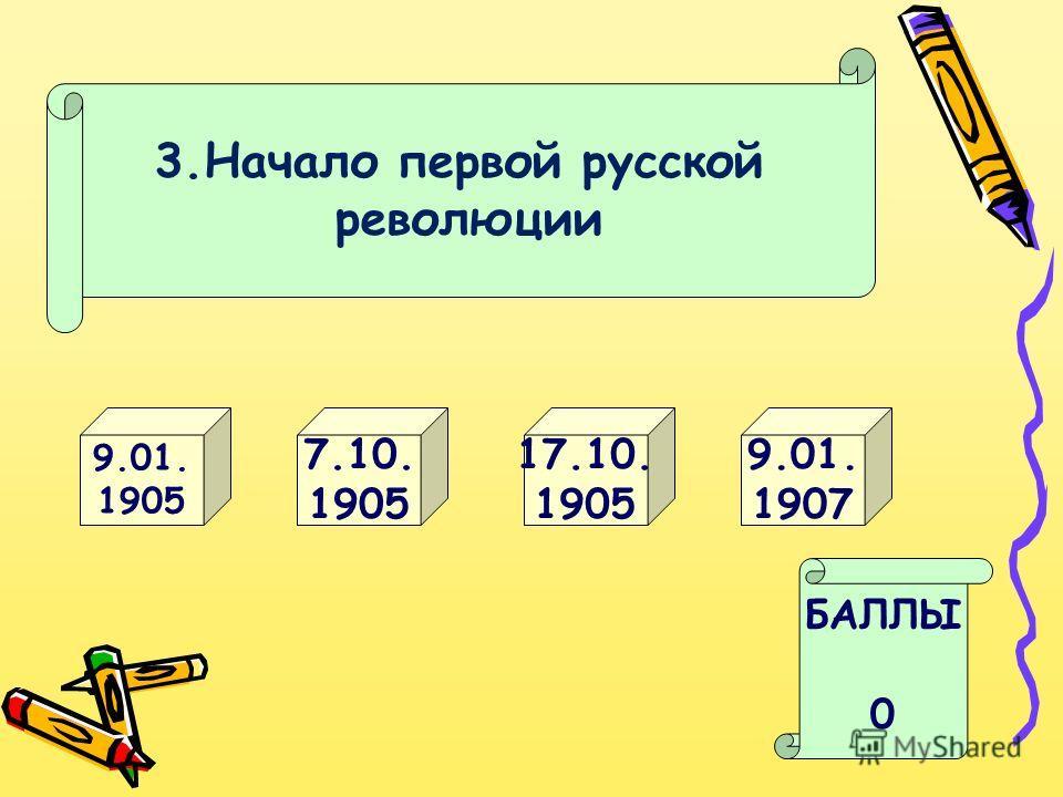3. Начало первой русской революции 9.01. 1905 17.10. 1905 БАЛЛЫ 0 9.01. 1907 7.10. 1905