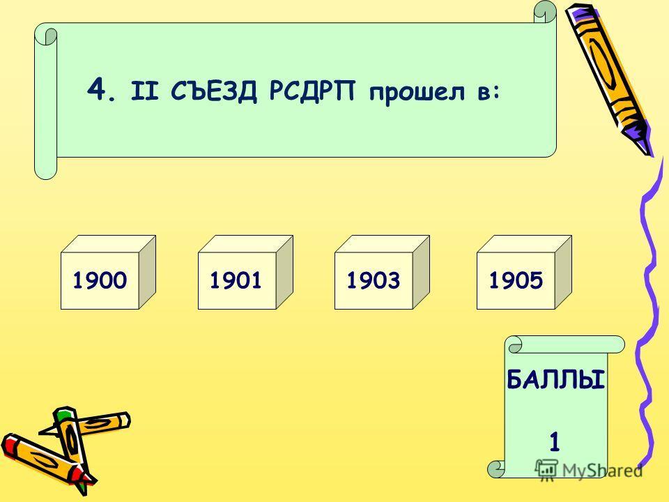 4. II СЪЕЗД РСДРП прошел в: 19031900 БАЛЛЫ 1 19051901