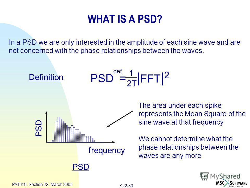 S22-30 PAT318, Section 22, March 2005 frequency PSD In a PSD we are only interested in the amplitude of each sine wave and are not concerned with the phase relationships between the waves. The area under each spike represents the Mean Square of the s