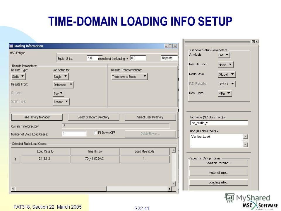 S22-41 PAT318, Section 22, March 2005 TIME-DOMAIN LOADING INFO SETUP