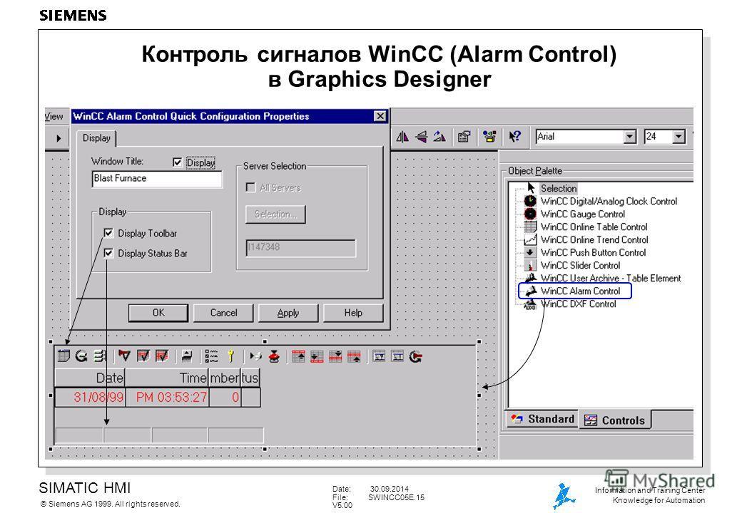 SIMATIC HMI Siemens AG 1999. All rights reserved.© Information and Training Center Knowledge for Automation Date: 30.09.2014 File:SWINCC05E.15 V5.00 Контроль сигналов WinCC (Alarm Control) в Graphics Designer