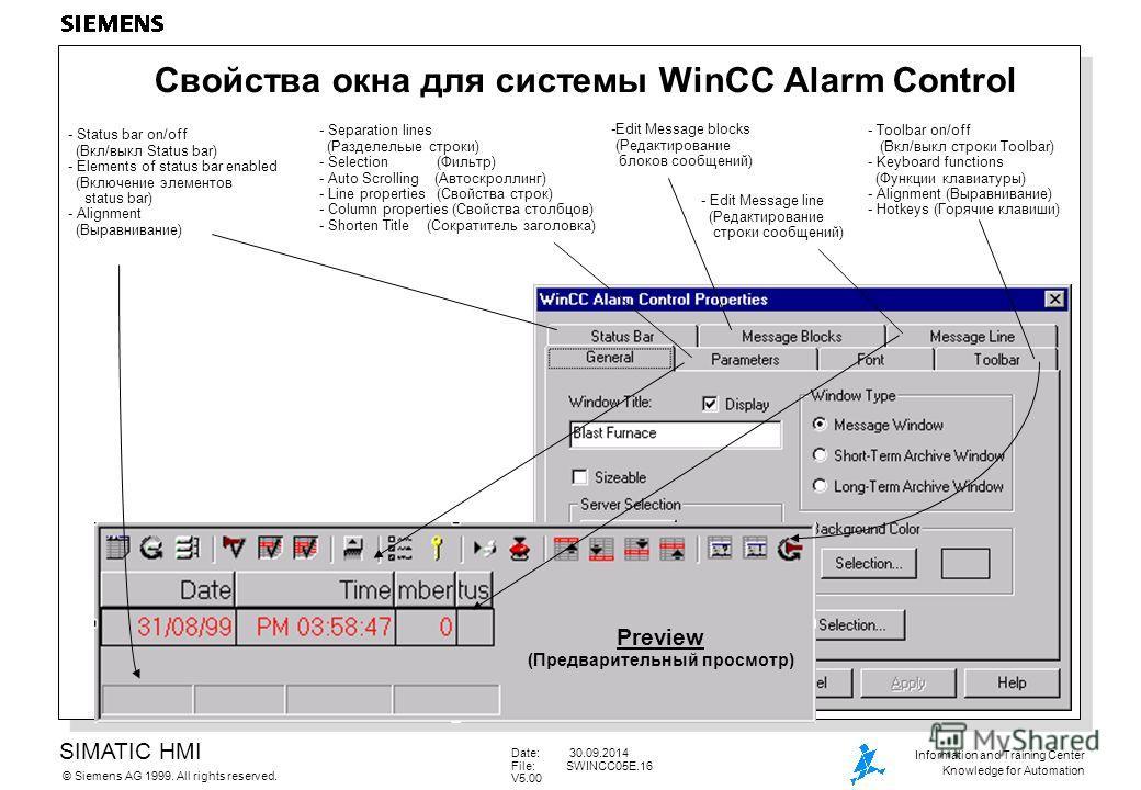 SIMATIC HMI Siemens AG 1999. All rights reserved.© Information and Training Center Knowledge for Automation Date: 30.09.2014 File:SWINCC05E.16 V5.00 Свойства окна для системы WinCC Alarm Control - Edit Message line (Редактирование строки сообщений) -