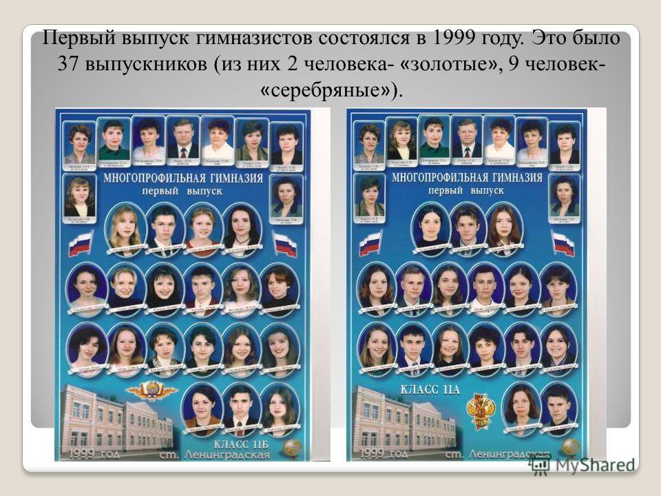 Первый выпуск гимназистов состоялся в 1999 году. Это было 37 выпускников (из них 2 человека- « золотые », 9 человек- « серебряные » ).