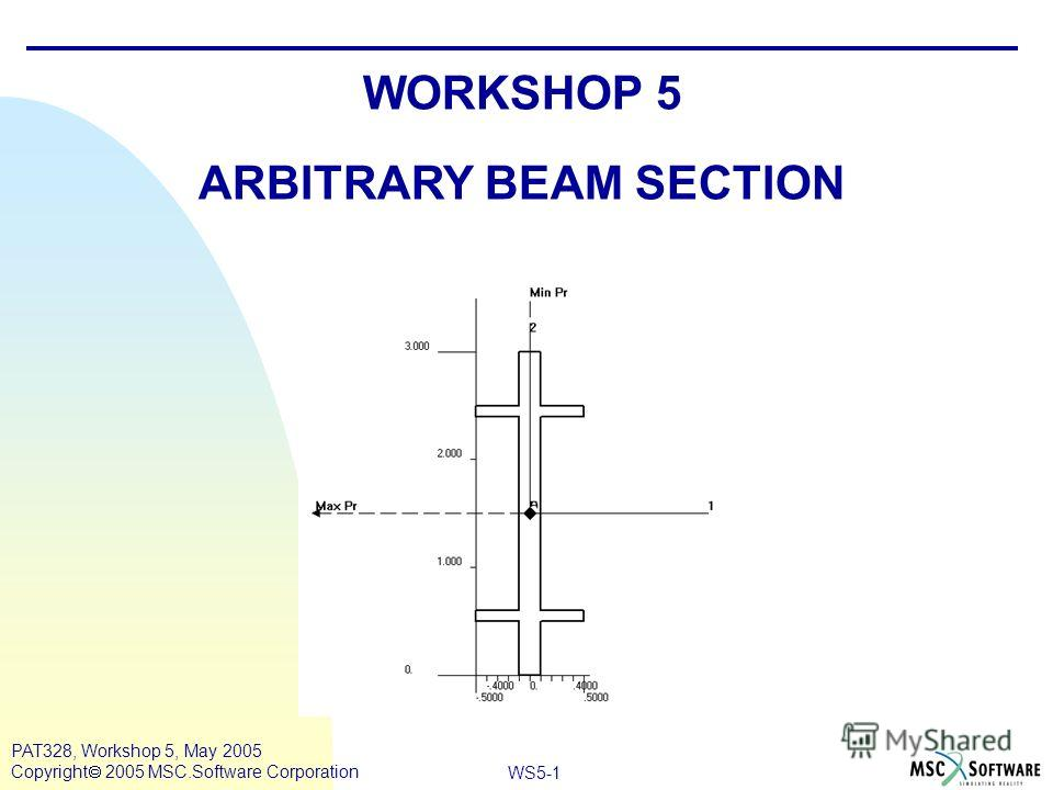 WS5-1 PAT328, Workshop 5, May 2005 Copyright 2005 MSC.Software Corporation WORKSHOP 5 ARBITRARY BEAM SECTION