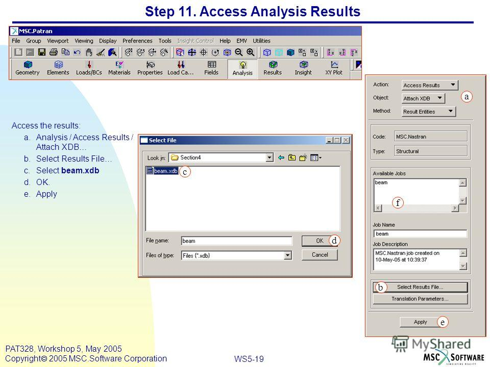WS5-19 PAT328, Workshop 5, May 2005 Copyright 2005 MSC.Software Corporation Step 11. Access Analysis Results Access the results: a.Analysis / Access Results / Attach XDB… b.Select Results File… c.Select beam.xdb d.OK. e.Apply a b c d e f