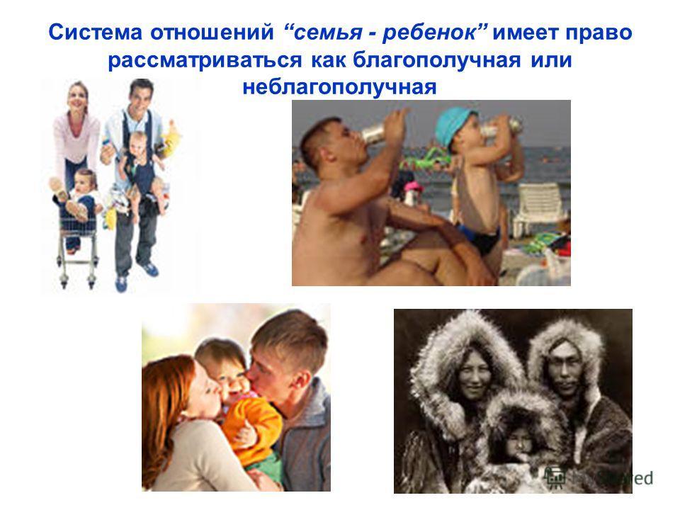 Система отношений семья - ребенок имеет право рассматриваться как благополучная или неблагополучная