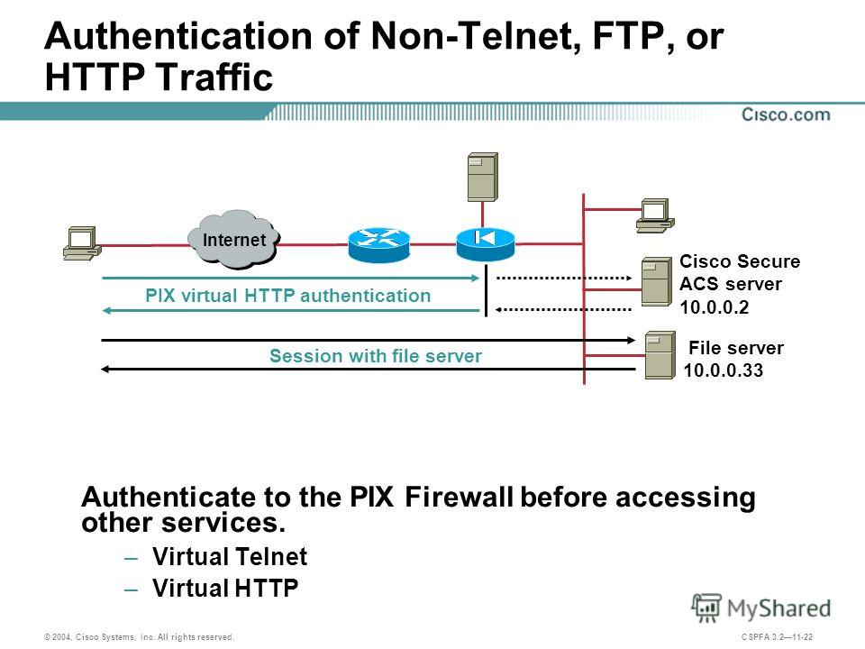 © 2004, Cisco Systems, Inc. All rights reserved. CSPFA 3.211-22 Authentication of Non-Telnet, FTP, or HTTP Traffic Authenticate to the PIX Firewall before accessing other services. – Virtual Telnet – Virtual HTTP Internet PIX virtual HTTP authenticat
