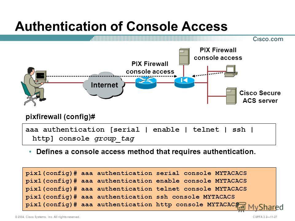 © 2004, Cisco Systems, Inc. All rights reserved. CSPFA 3.211-27 Authentication of Console Access Defines a console access method that requires authentication. aaa authentication [serial | enable | telnet | ssh | http] console group_tag pixfirewall (c