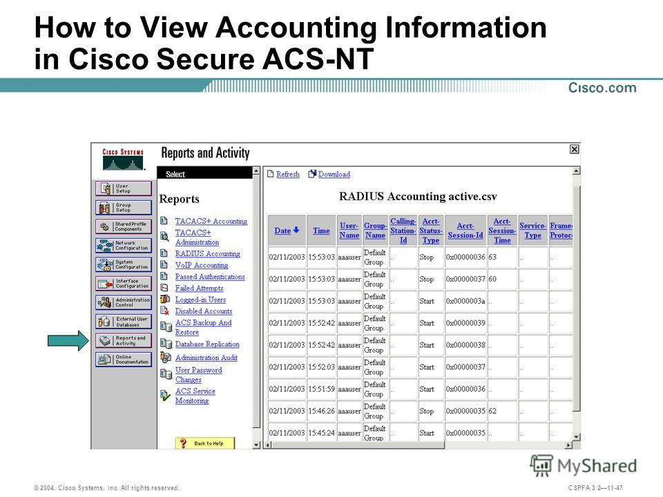 © 2004, Cisco Systems, Inc. All rights reserved. CSPFA 3.211-47 How to View Accounting Information in Cisco Secure ACS-NT