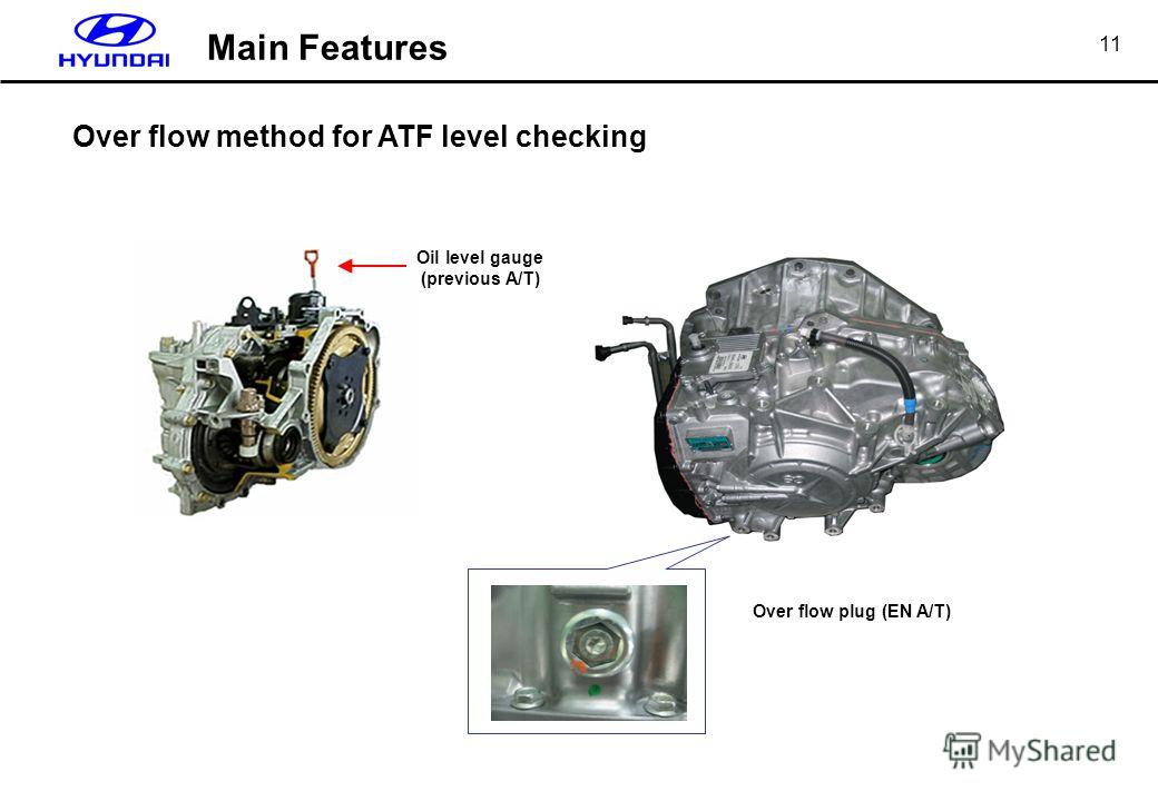 11 Over flow plug (EN A/T) Over flow method for ATF level checking Oil level gauge (previous A/T) Main Features