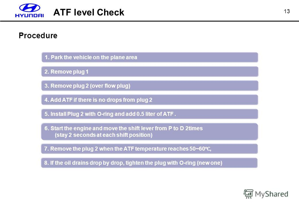 13 Procedure 1. Park the vehicle on the plane area 2. Remove plug 1 3. Remove plug 2 (over flow plug) 4. Add ATF if there is no drops from plug 2 5. Install Plug 2 with O-ring and add 0.5 liter of ATF. 6. Start the engine and move the shift lever fro