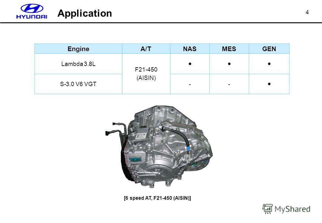 4 EngineA/TNASMESGEN Lambda 3.8L F21-450 (AISIN) S-3.0 V6 VGT-- [6 speed AT, F21-450 (AISIN)] Application