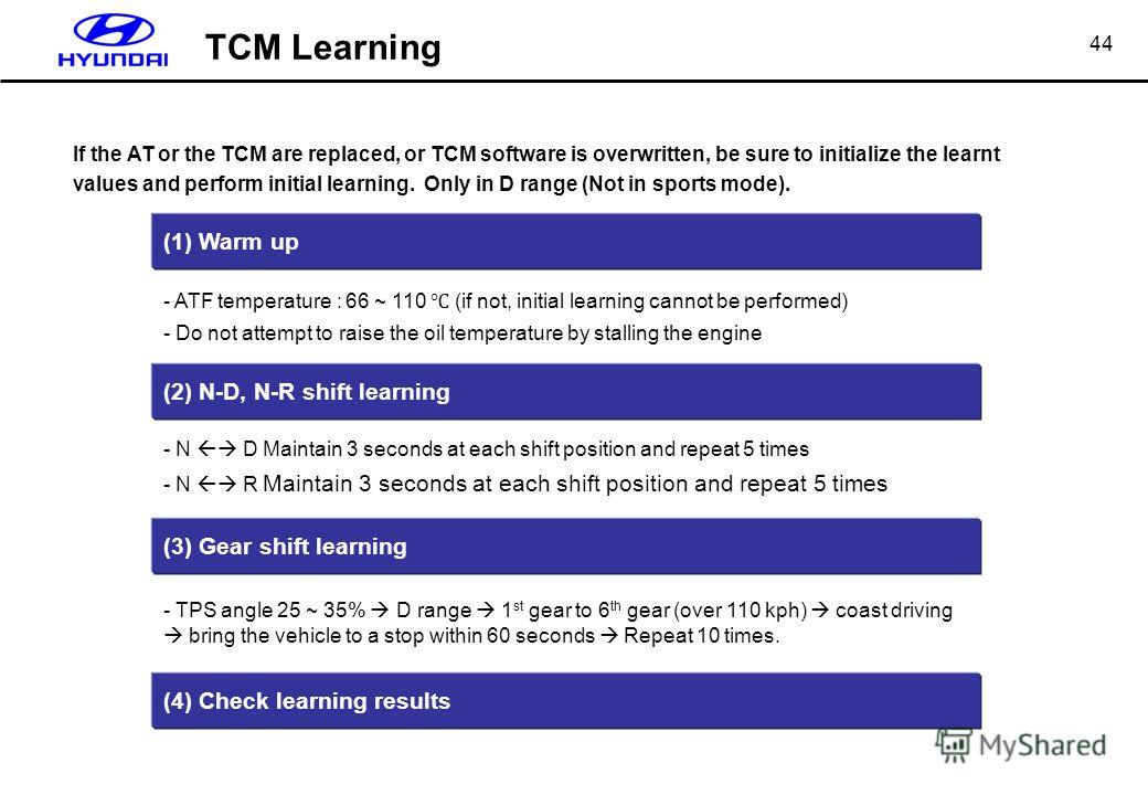 44 If the AT or the TCM are replaced, or TCM software is overwritten, be sure to initialize the learnt values and perform initial learning. Only in D range (Not in sports mode). (1) Warm up - ATF temperature : 66 ~ 110 (if not, initial learning canno