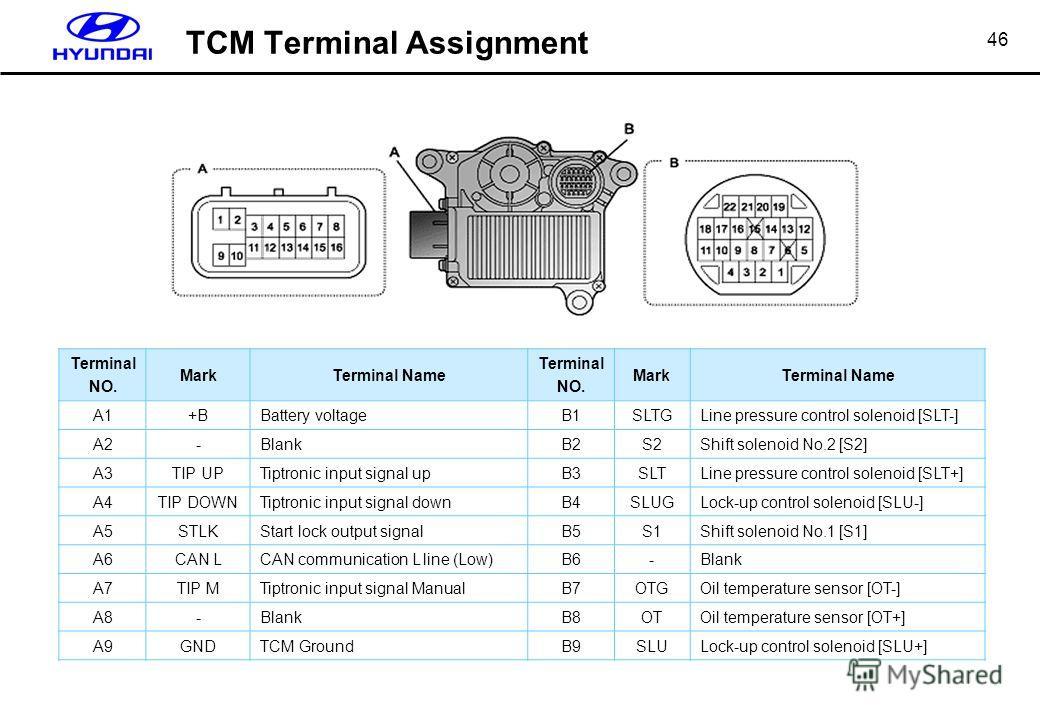 46 TCM Terminal Assignment Terminal NO. MarkTerminal Name Terminal NO. MarkTerminal Name A1+BBattery voltageB1SLTGLine pressure control solenoid [SLT-] A2-BlankB2S2Shift solenoid No.2 [S2] A3TIP UPTiptronic input signal upB3SLTLine pressure control s