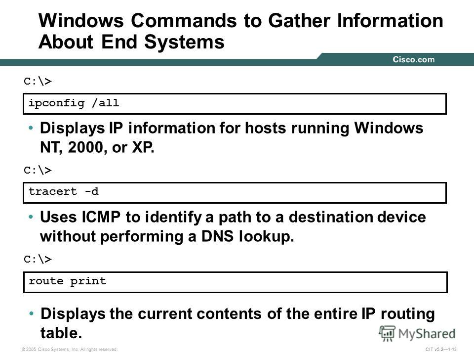 © 2005 Cisco Systems, Inc. All rights reserved. CIT v5.21-13 ipconfig /all Displays IP information for hosts running Windows NT, 2000, or XP. C:\> tracert -d Uses ICMP to identify a path to a destination device without performing a DNS lookup. C:\> r