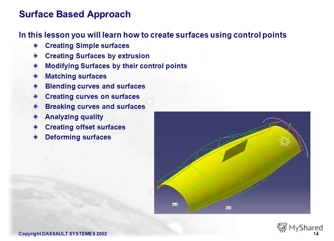 Copyright DASSAULT SYSTEMES 200214 Surface Based Approach In this lesson you will learn how to create surfaces using control points Creating Simple surfaces Creating Surfaces by extrusion Modifying Surfaces by their control points Matching surfaces B
