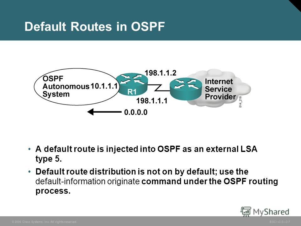 © 2006 Cisco Systems, Inc. All rights reserved. BSCI v3.03-7 Default Routes in OSPF A default route is injected into OSPF as an external LSA type 5. Default route distribution is not on by default; use the default-information originate command under