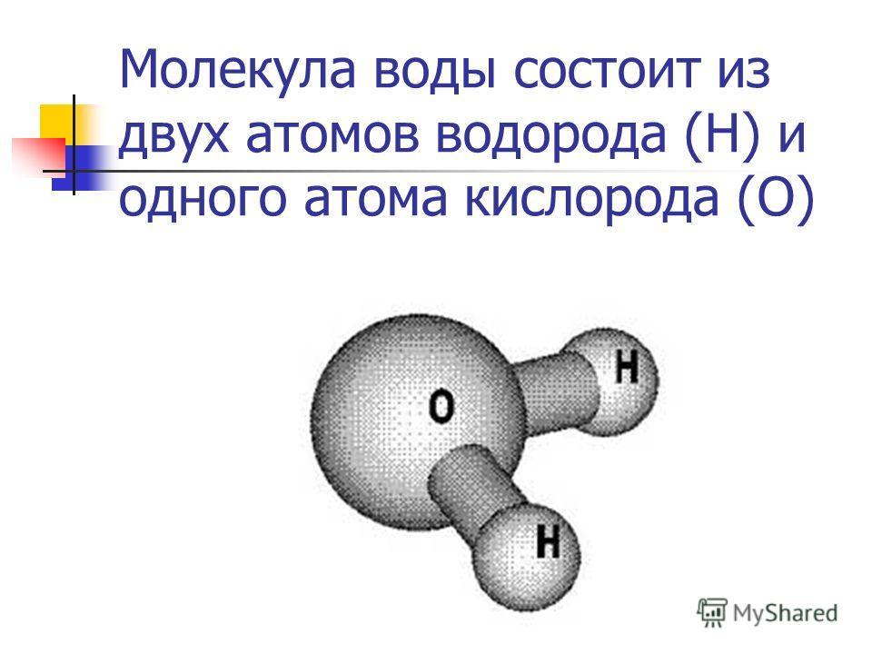 Молекула воды состоит из двух атомов водорода (Н) и одного атома кислорода (О)