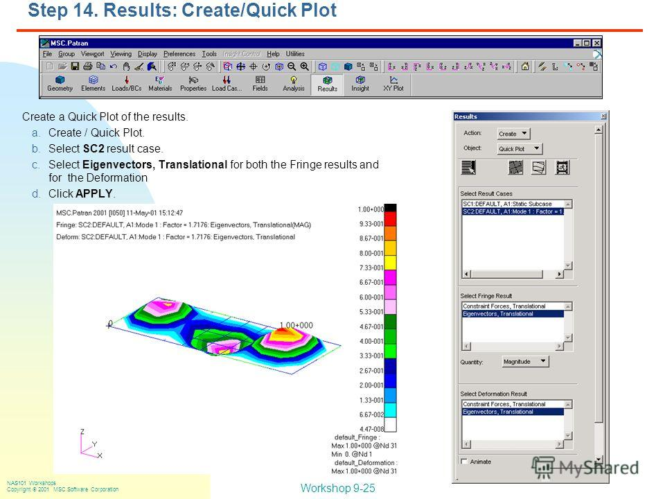 Workshop 9-25 NAS101 Workshops Copyright 2001 MSC.Software Corporation Step 14. Results: Create/Quick Plot Create a Quick Plot of the results. a.Create / Quick Plot. b.Select SC2 result case. c.Select Eigenvectors, Translational for both the Fringe r