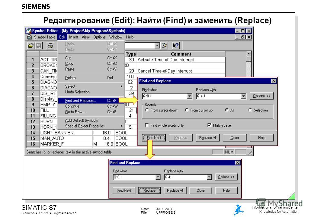 Date:30.09.2014 File:UPPROGE.5 SIMATIC S7 Siemens AG 1999. All rights reserved. Information and Training Center Knowledge for Automation Редактирование (Edit): Найти (Find) и заменить (Replace)