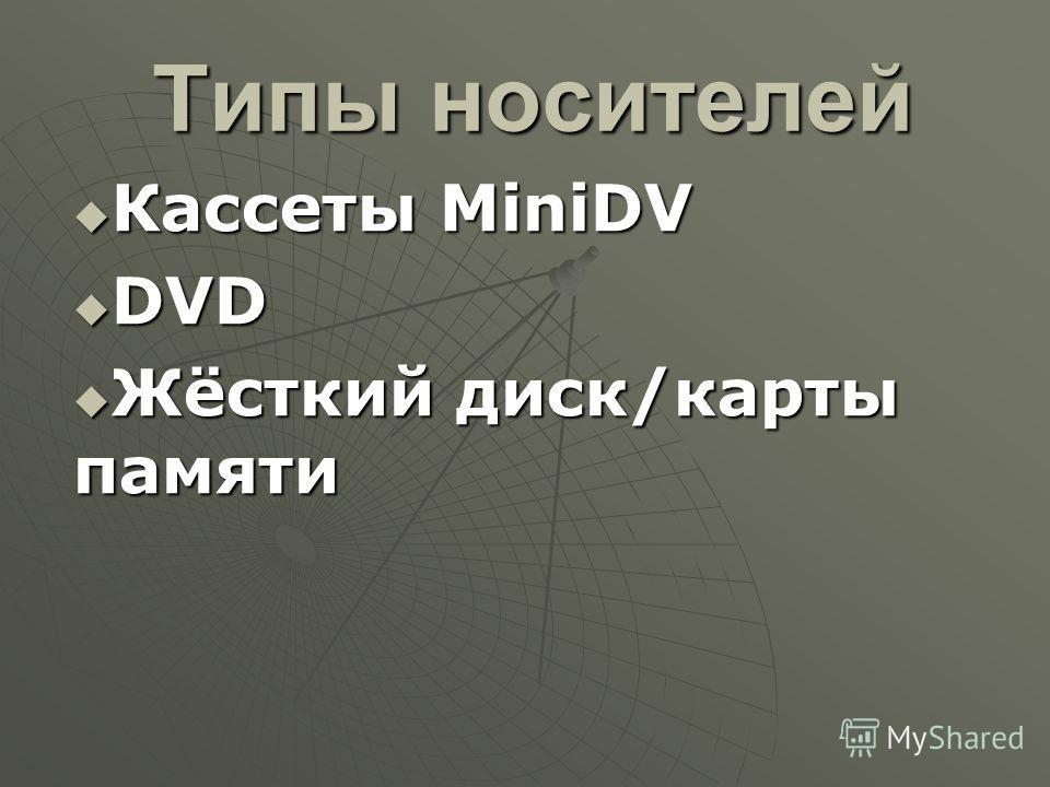 Типы носителей Кассеты MiniDV Кассеты MiniDV DVD DVD Жёсткий диск/карты памяти Жёсткий диск/карты памяти