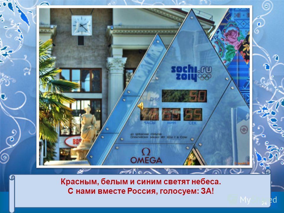 Красным, белым и синим светят небеса. С нами вместе Россия, голосуем: ЗА! 24