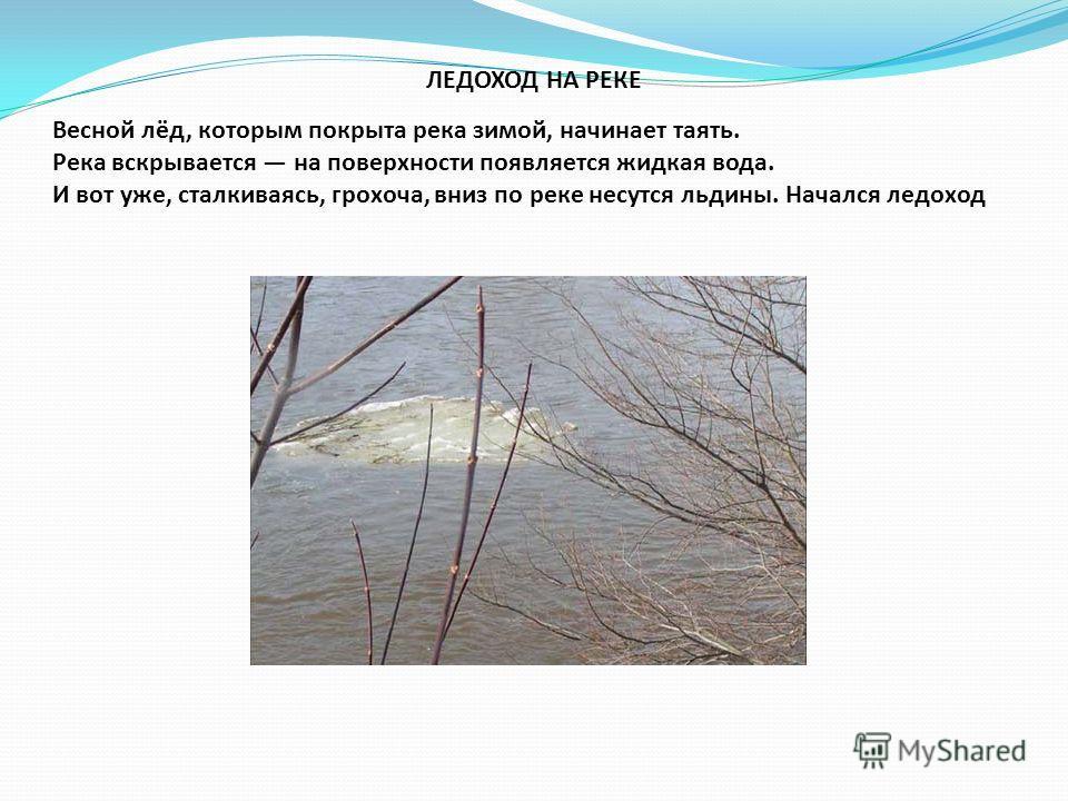 ЛЕДОХОД НА РЕКЕ Весной лёд, которым покрыта река зимой, начинает таять. Река вскрывается на поверхности появляется жидкая вода. И вот уже, сталкиваясь, грохоча, вниз по реке несутся льдины. Начался ледоход