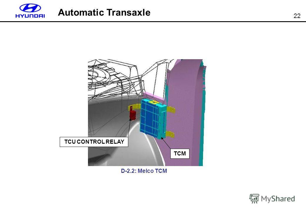 22 TCM TCU CONTROL RELAY Automatic Transaxle D-2.2: Melco TCM