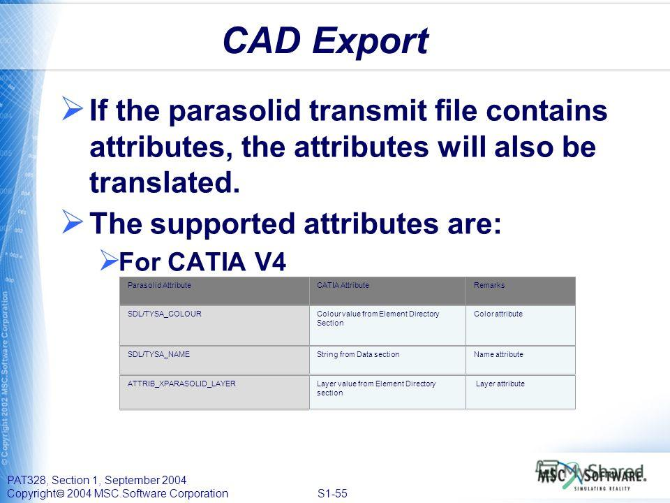 PAT328, Section 1, September 2004 Copyright 2004 MSC.Software Corporation S1-55 CAD Export If the parasolid transmit file contains attributes, the attributes will also be translated. The supported attributes are: For CATIA V4 Parasolid AttributeCATIA