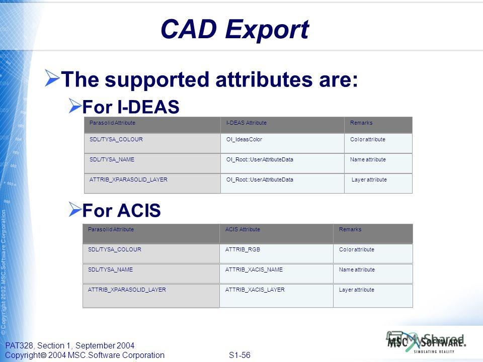 PAT328, Section 1, September 2004 Copyright 2004 MSC.Software Corporation S1-56 CAD Export The supported attributes are: For I-DEAS For ACIS Parasolid AttributeI-DEAS AttributeRemarks SDL/TYSA_COLOUR OI_IdeasColor Color attribute SDL/TYSA_NAME OI_Roo