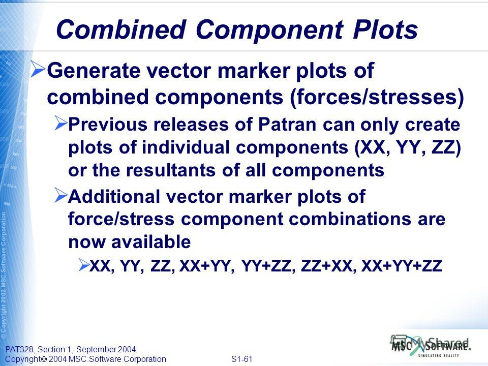 PAT328, Section 1, September 2004 Copyright 2004 MSC.Software Corporation S1-61 Combined Component Plots Generate vector marker plots of combined components (forces/stresses) Previous releases of Patran can only create plots of individual components