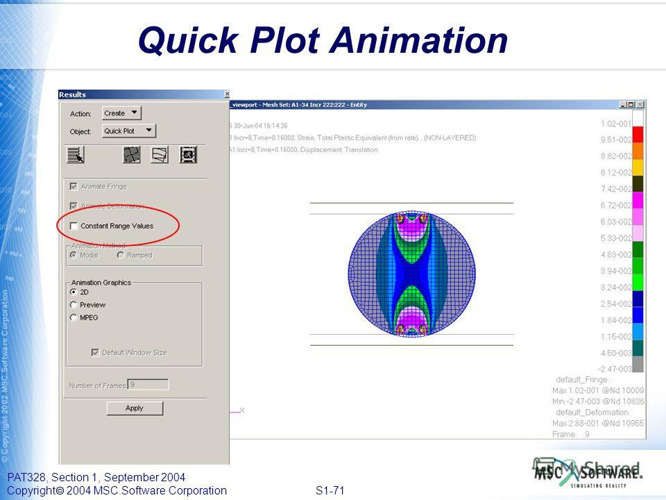 PAT328, Section 1, September 2004 Copyright 2004 MSC.Software Corporation S1-71 Quick Plot Animation